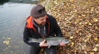 Fly fishing initiation on reservoir in Auvergne