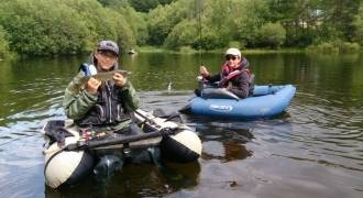Lure fishing with a float-tube in Cantal