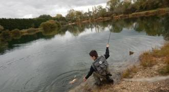Fly Fishing Day in reservoir