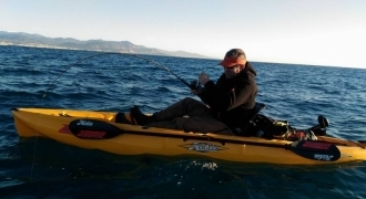 Kayak fishing  between Cannes and Antibes